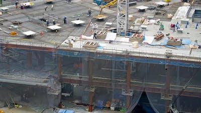 Time lapse construction crane site of building