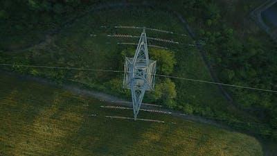 Birds Eye View of an Electricity Pylon