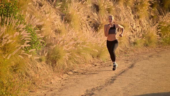 Cover Image for Fit Woman Jogging Los Angeles Slow-Motion