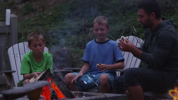 Thumbnail for Family roasting marshmallows by outdoor fire. Shot on RED EPIC for high quality 4K, UHD, Ultra HD re