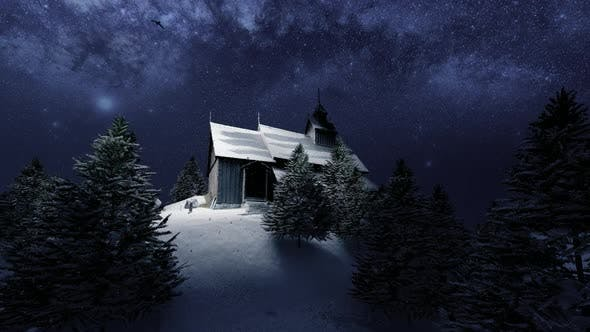 Thumbnail for Night Landscape in Snowy High Mountains and Wooden Chalet