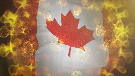 Canada Flag with Coronavirus Microbe