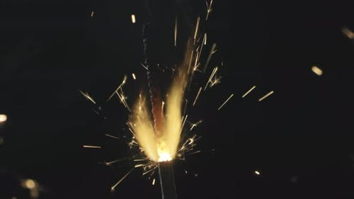 Sparklers Burning Before Camera