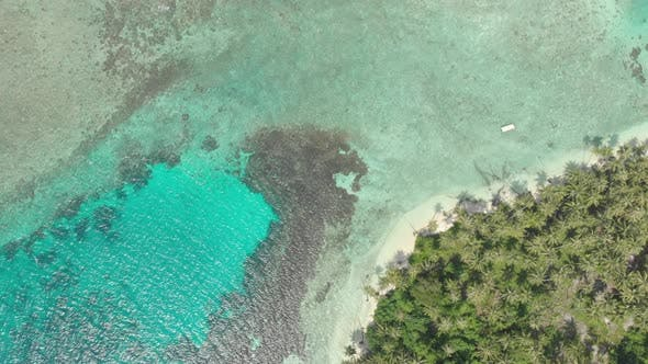 Thumbnail for Aerial: flying over tropical island white beach caribbean sea turquoise water co