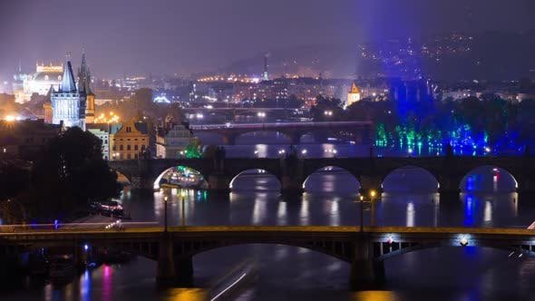 Thumbnail for Famous Bridges of Prague in the Evening