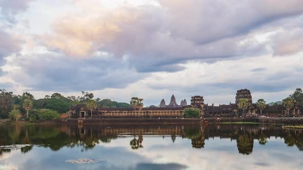 Thumbnail for Sunset time lapse at Angkor Wat main facade reflection on water pond, Cambodia