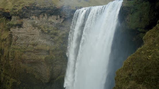 Skogafoss Waterfall in the South of Iceland. High Water Cascades Midium Shot
