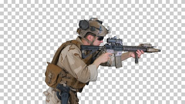 Marine aiming and shooting automatic rifle, Alpha Channel