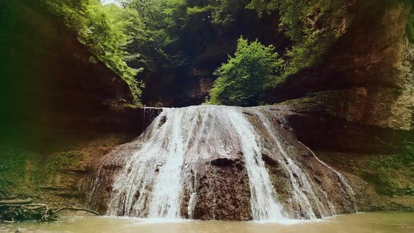 Steadicam Tracking Shot of Beautiful Waterfall Rufabgo in North Caucasus in Adygea, Caucasian