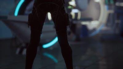 Futuristic Woman in Sci Fi Laboratory