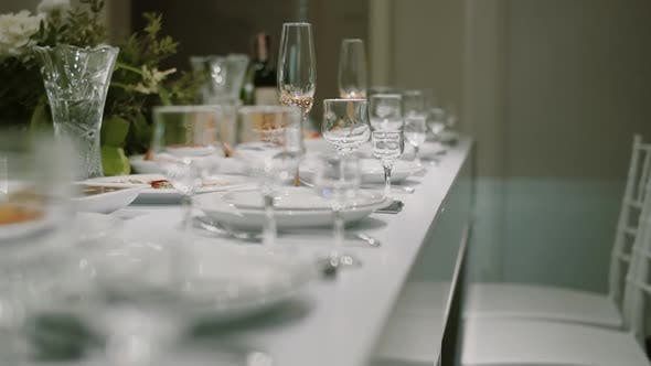 Thumbnail for Decorated Table for Newlyweds at a Wedding Celebration, Glasses of Champagne on the Table. Close Up