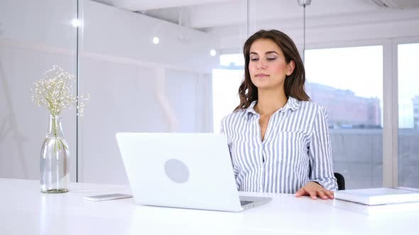 Thumbnail for Hispanic Woman Leaving Office after Completing Work, Job Finished