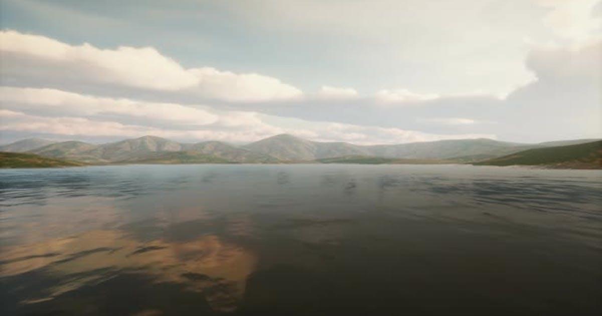 Beautiful Calm Lake with Sunset