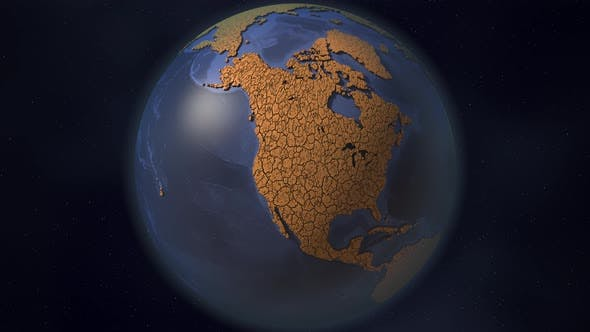 Continent of North America Covered with Dry Cracked Earth