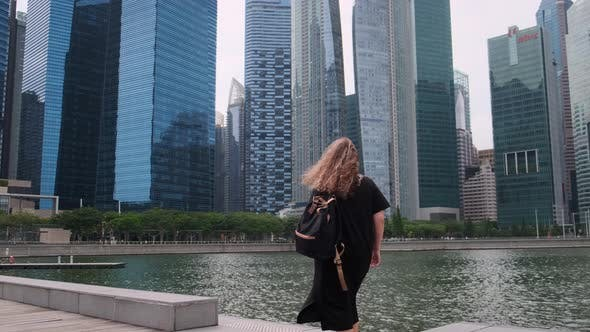 Woman in City Business District of Singapore