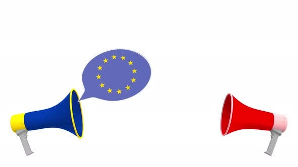 Thumbnail for Flags of Indonesia and the European Union on Speech Bubbles