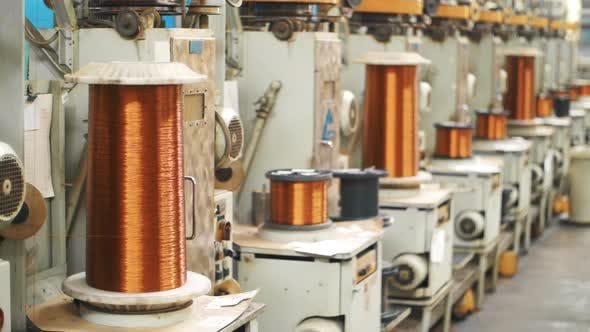Thumbnail for Copper Wire Winding on Coils at Factory. Bronze Cable Rolling on Reels at Plant