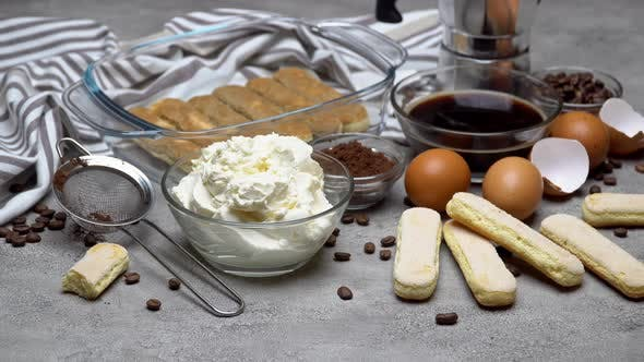 Thumbnail for Ingredients for Making Traditional Italian Cake Tiramisu on Concrete Table