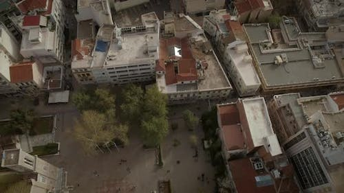 Aerial view of the square and the Metropolitan Cathedral church of Athens.