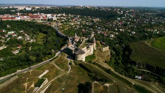 Aerial View of Old Fortress in the City of Kamenets-Podolsky