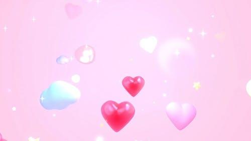 Cartoon Hearts Sky