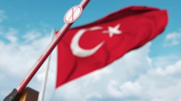 Thumbnail for Closed Gate with STOP CORONAVIRUS Sign on the Turkish Flag Background