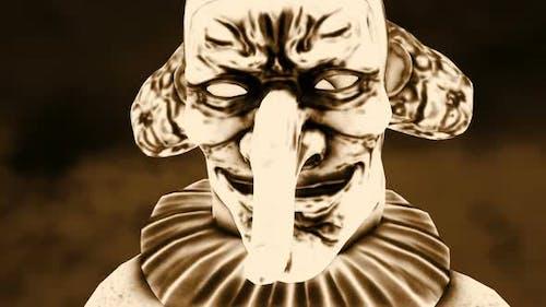 Horror clown closeup vintage effect