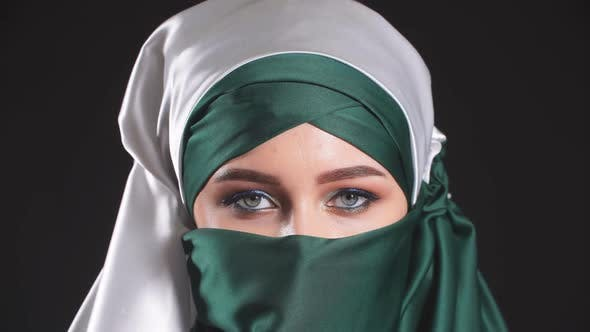 Thumbnail for Close-up Portrait of Attractive Young Modern Muslim Woman in Hijab.