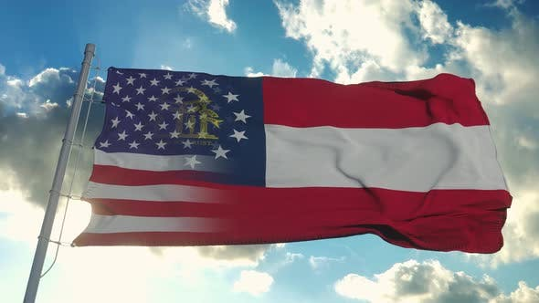 Flag of USA and Georgia State