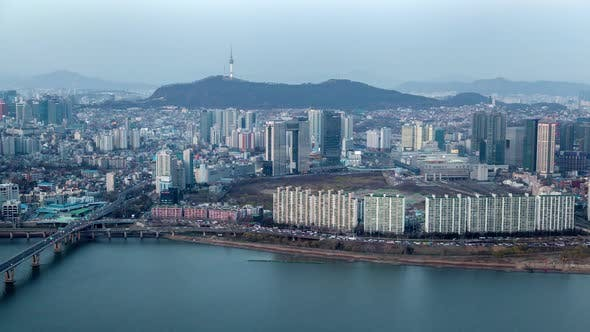 Thumbnail for Korea, Seoul Cityscape Landscape During All Day