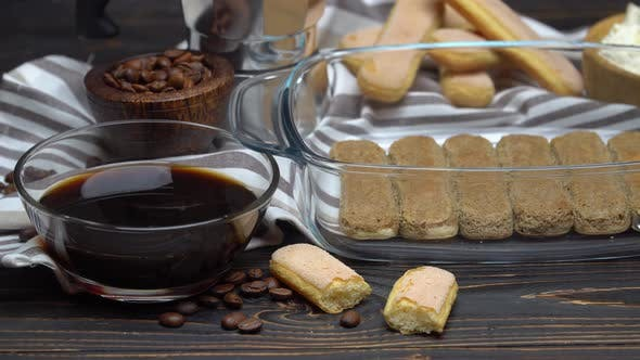 Cover Image for Ingredients for Traditional Tiramisu Cake on Wooden Background