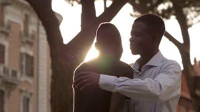 Black people greeting.African men's Handshake and hug- slow motion
