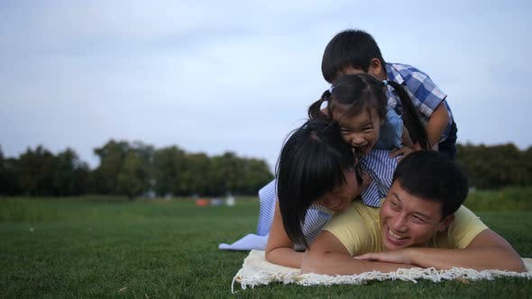 Cover Image for Carefree Family Making a Pile on Grass Together