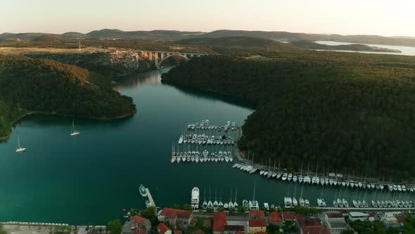 Aerial View of the Beautiful Old City Skradin at Sunset
