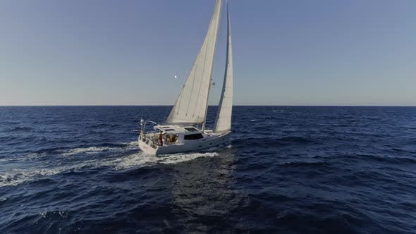 Thumbnail for Sailboat Butting Through the Waves in the Mediterranean Waters