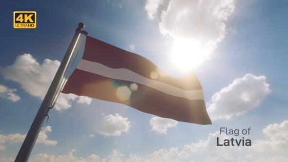 Thumbnail for Latvia Flag on a Flagpole V2 - 4K