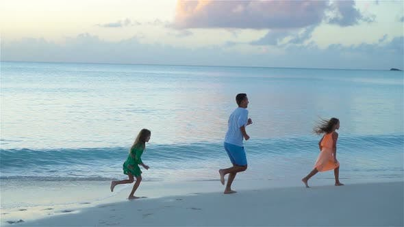 Thumbnail for Father and Kids Enjoying Beach Summer Tropical Vacation, SLOW MOTION