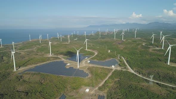 Thumbnail for Solar Farm Windmills
