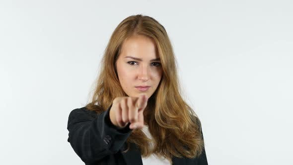 Thumbnail for Businesswoman Pointing At Camera , Selecting , you, Portrait , White background