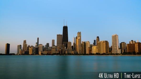 4K Chicago City Sunrise On Cloudless Morning