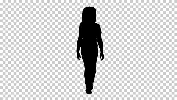 Silhouette Little girl walking, Alpha Channel