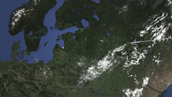 Thumbnail for Route of a Commercial Plane Flying To Riga