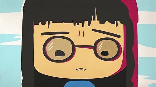 Cartoon cute girl portrait crying and wiping her tears by her hand