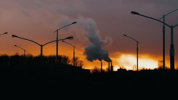 Thumbnail for Industrial Zone From City Pipe Thick Smoke is Poured From Factory Sunny Evening Cityscape