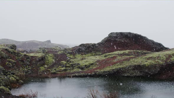 Thumbnail for Panoramic View of Iceland while Snowing