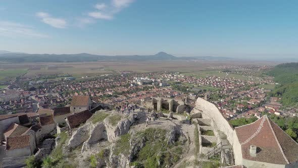 Aerial view of Rasnov Fortress and town