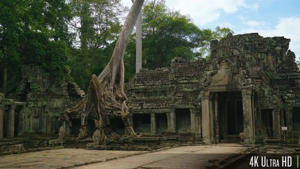 Thumbnail for 4K Old Stone Ruins of Preah Khan Temple in Siem Reap, Cambodia