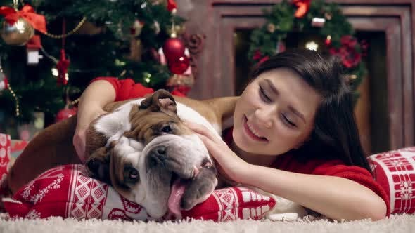 Thumbnail for Charming Asian Girl Loves and Caresses a Cute Funny Bulldog Under the Christmas Tree. Best Friends