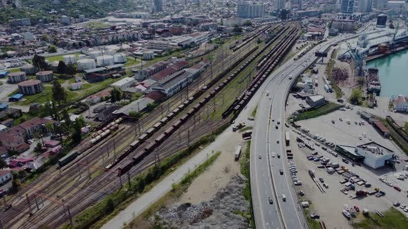 Highway and railway aerial view