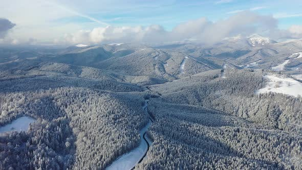 Thumbnail for Aerial View on The Road and Forest in The Winter Time